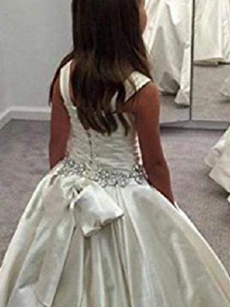 Princess / Ball Gown Floor Length Wedding / Party Flower Girl Dresses - Satin Sleeveless Bateau Neck With Sash / Ribbon / Bow(S) / Pleats_2