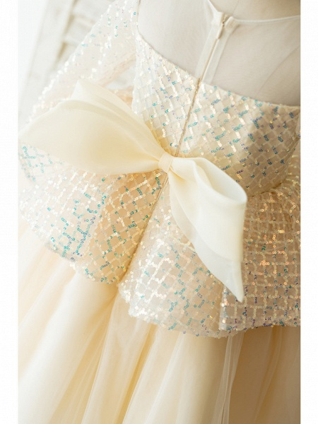 Ball Gown Sweep / Brush Train / Knee Length Wedding / Birthday Flower Girl Dresses - Tulle / Sequined Long Sleeve Jewel Neck With Bow(S)_4