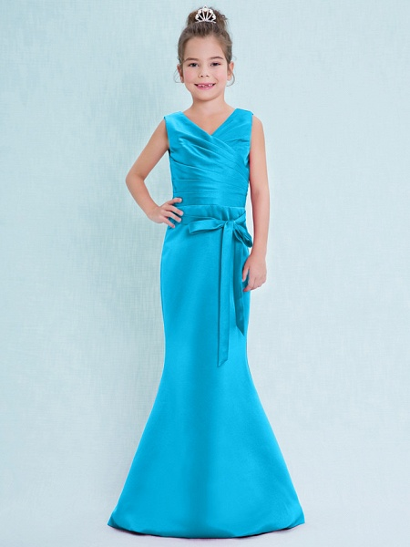 Mermaid / Trumpet V Neck Floor Length Satin Junior Bridesmaid Dress With Criss Cross / Natural_33