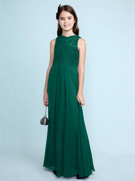 Sheath / Column Scoop Neck Floor Length Chiffon / Lace Junior Bridesmaid Dress With Lace / Natural_29