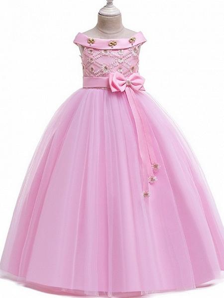 Princess Bateau Floor Length Cotton Junior Bridesmaid Dress With Bow(S) / Pearls / Appliques_3