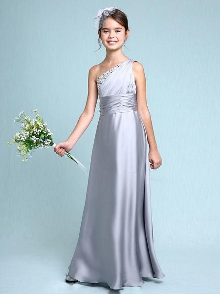 Sheath / Column One Shoulder Floor Length Chiffon Satin Junior Bridesmaid Dress With Ruched / Side Draping / Natural_5