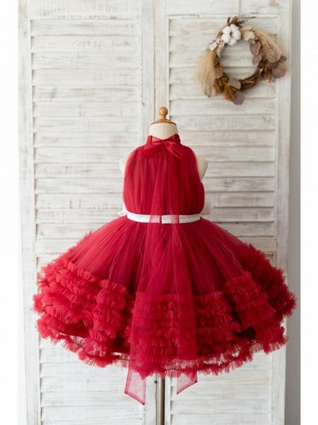 Ball Gown Knee Length Wedding / Birthday Flower Girl Dresses - Tulle Sleeveless Halter Neck / High Neck With Bow(S)_2