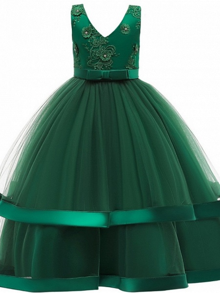 Princess / Ball Gown Floor Length Wedding / Party Flower Girl Dresses - Tulle Sleeveless V Neck With Sash / Ribbon / Bow(S) / Tier_4
