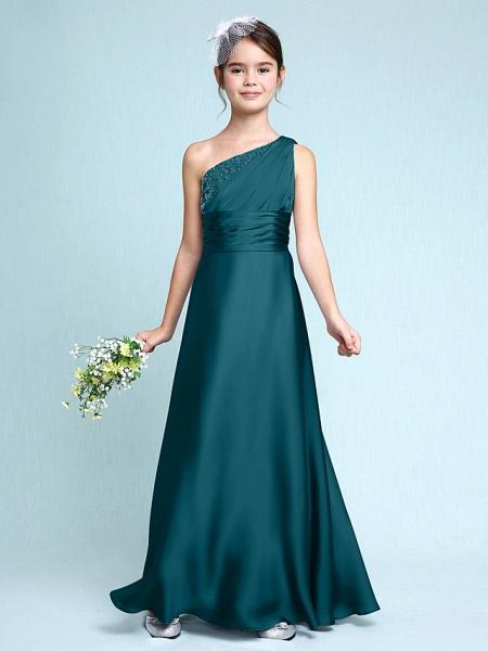 Sheath / Column One Shoulder Floor Length Chiffon Satin Junior Bridesmaid Dress With Ruched / Side Draping / Natural_36