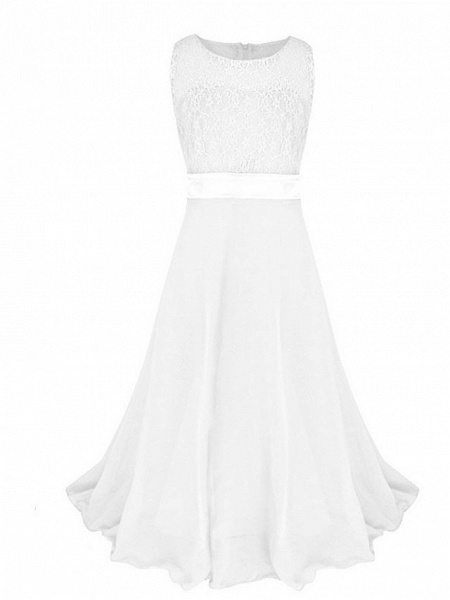 Princess / Ball Gown Maxi Party / Formal Evening / Pageant Flower Girl Dresses - Tulle / Poly&Cotton Blend Sleeveless Jewel Neck With Lace / Solid_4