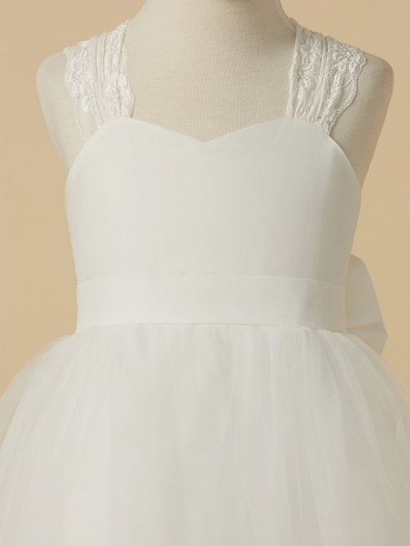 Princess Floor Length Wedding / First Communion Flower Girl Dresses - Lace / Satin / Tulle Sleeveless Halter Neck With Bow(S)_4
