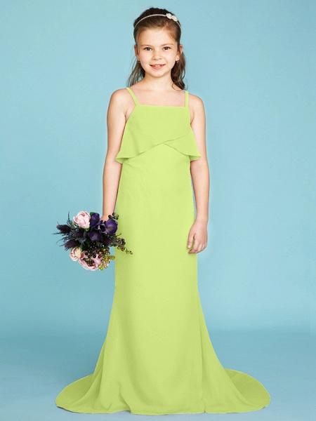 Sheath / Column Spaghetti Strap Sweep / Brush Train Chiffon Junior Bridesmaid Dress With Tiered / Wedding Party / Open Back_44
