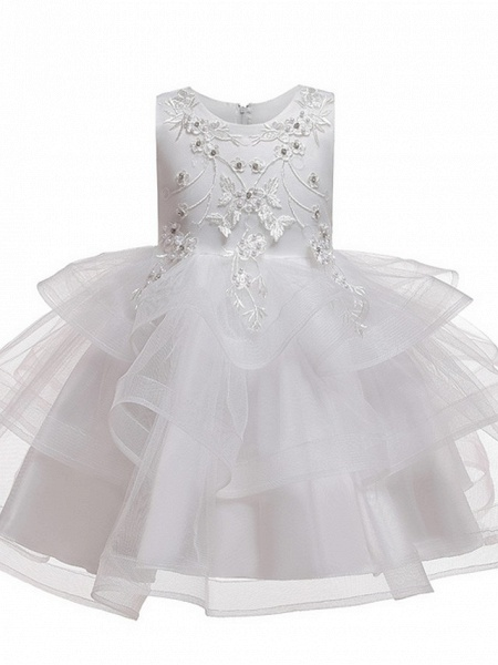 Princess / Ball Gown Knee Length Wedding / Party Flower Girl Dresses - Satin / Tulle Sleeveless Jewel Neck With Bow(S) / Beading / Tier_11