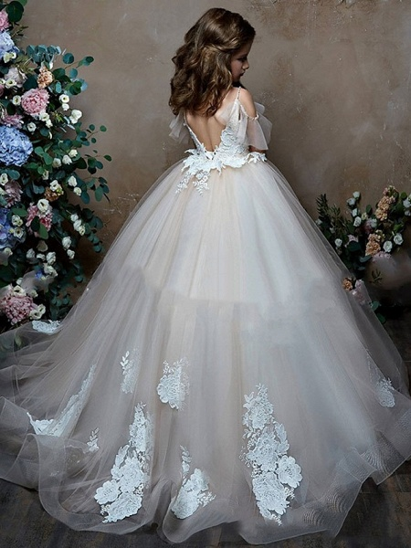 Princess / Ball Gown Sweep / Brush Train Wedding / Party Flower Girl Dresses - Lace / Tulle Short Sleeve V Neck With Bow(S) / Appliques_2