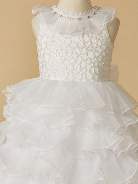 Ball Gown Chapel Train Wedding / First Communion / Pageant Flower Girl Dresses - Lace / Organza Sleeveless Jewel Neck With Beading / Spring / Summer / Fall / Winter_4