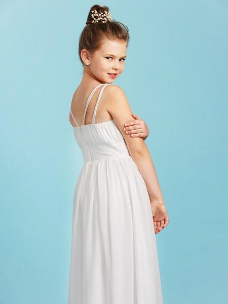 Princess / A-Line Spaghetti Strap Floor Length Chiffon Junior Bridesmaid Dress With Sash / Ribbon / Criss Cross / Wedding Party / Open Back_6