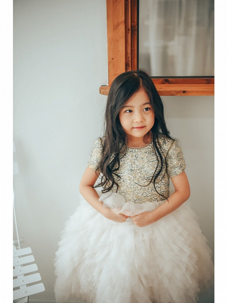 Ball Gown Ankle Length Wedding / Birthday / Pageant Flower Girl Dresses - Tulle / Sequined Short Sleeve Jewel Neck With Paillette_5