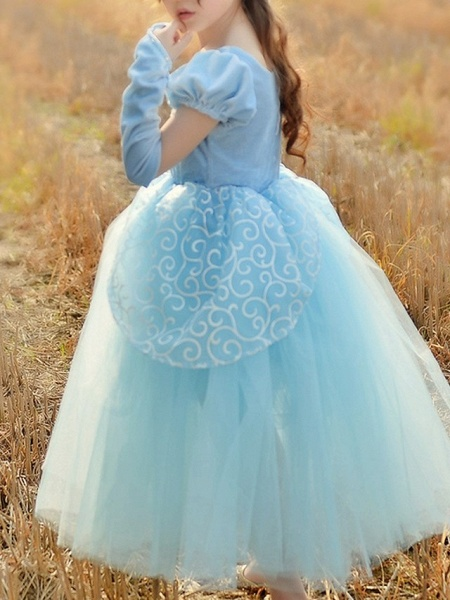 Princess Floor Length Pageant Flower Girl Dresses - Cotton Short Sleeve Square Neck With Beading / Appliques / Paillette_3