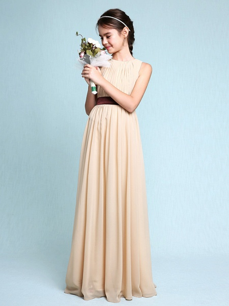 Sheath / Column Scoop Neck Floor Length Chiffon Junior Bridesmaid Dress With Draping / Natural_1