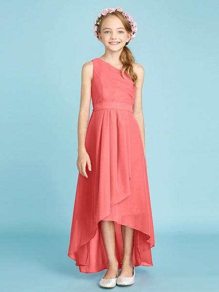 A-Line One Shoulder Asymmetrical Chiffon Junior Bridesmaid Dress With Sash / Ribbon / Bow(S) / Side Draping / Natural_16