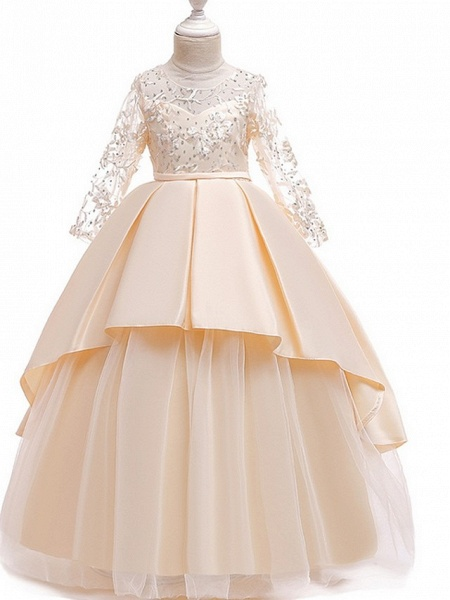 Princess Round Floor Length Cotton Junior Bridesmaid Dress With Bow(S) / Pleats / Crystals_1