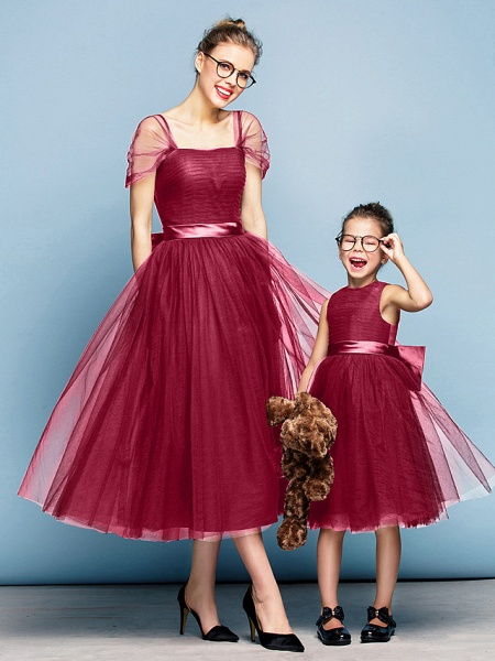 Princess Tea Length Party / Prom / Formal Evening Flower Girl Dresses - Tulle Short Sleeve Square Neck With Bow(S) / Ruched / Elegant_15