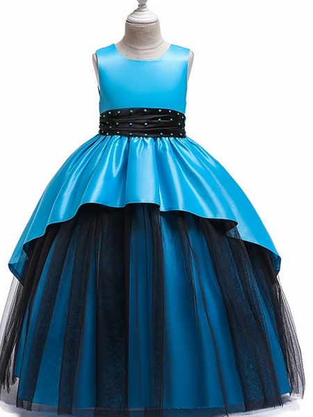 Princess Round Floor Length Cotton Junior Bridesmaid Dress With Bow(S) / Ruching_5