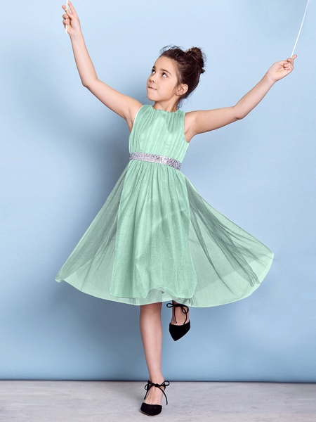 A-Line Jewel Neck Knee Length Tulle Junior Bridesmaid Dress With Sash / Ribbon / Sequin / Draping / Natural_39
