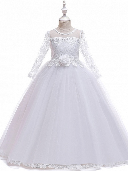 Princess Long Length Party / Pageant Flower Girl Dresses - Poly / Polyester / Cotton / Lace Long Sleeve Jewel Neck With Butterfly Design / Sash / Ribbon / Beading_5
