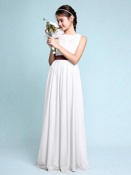 Sheath / Column Scoop Neck Floor Length Chiffon Junior Bridesmaid Dress With Draping / Natural_20