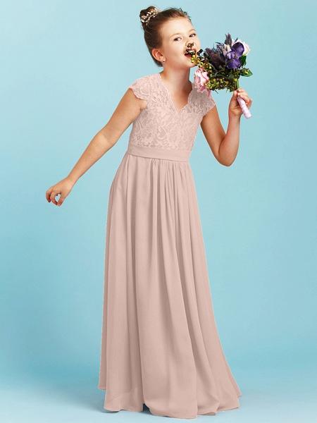 Princess / A-Line V Neck Floor Length Chiffon / Lace Junior Bridesmaid Dress With Sash / Ribbon / Pleats / Wedding Party_17