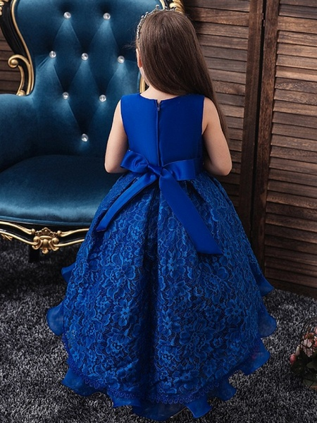 Princess / Ball Gown Floor Length Wedding / Party Flower Girl Dresses - Lace / Tulle Sleeveless Jewel Neck With Sash / Ribbon / Embroidery_4