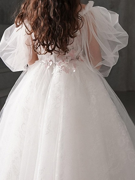 Ball Gown Ankle Length First Communion Flower Girl Dresses - Polyester Half Sleeve Off Shoulder With Appliques_5