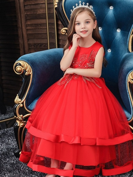 Princess / Ball Gown Floor Length Wedding / Party Flower Girl Dresses - Tulle Sleeveless Jewel Neck With Bow(S) / Appliques / Cascading Ruffles_2