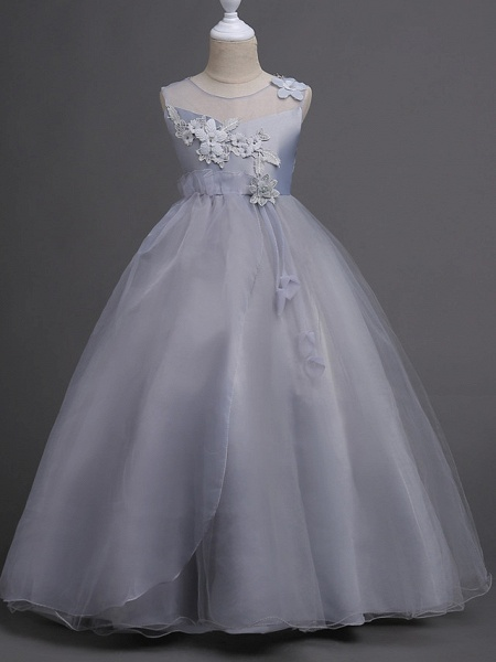 Princess Floor Length Wedding / Birthday / Pageant Flower Girl Dresses - Lace / Tulle / Polyester Sleeveless Jewel Neck With Lace / Bow(S) / Appliques_6