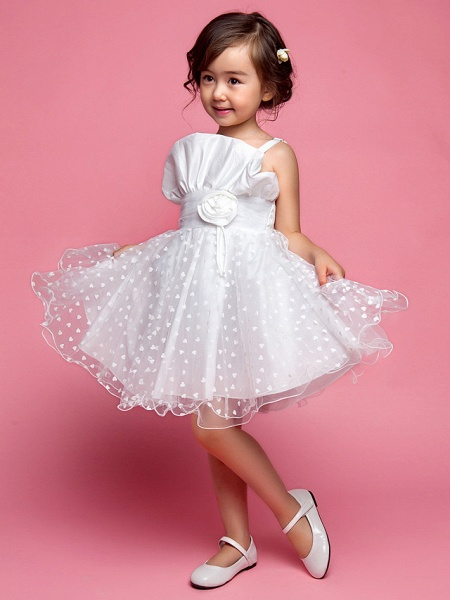 Princess / A-Line Knee Length Wedding Party Cotton / Polyester Sleeveless Spaghetti Strap With Lace / Flower / Spring / Summer / Fall_2