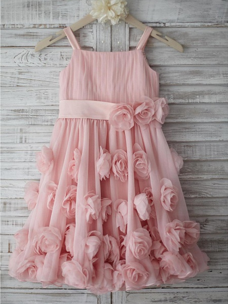 A-Line Knee Length Holiday Flower Girl Dresses - Chiffon Sleeveless Straps With Sash / Ribbon / Bow(S) / Draping_1