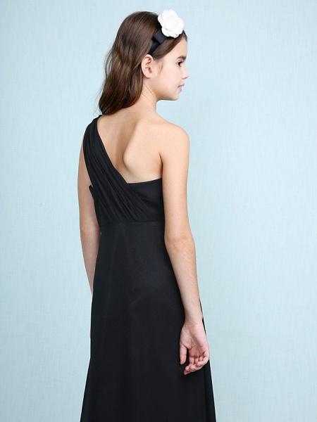 Sheath / Column One Shoulder Floor Length Chiffon Junior Bridesmaid Dress With Side Draping / Natural_7