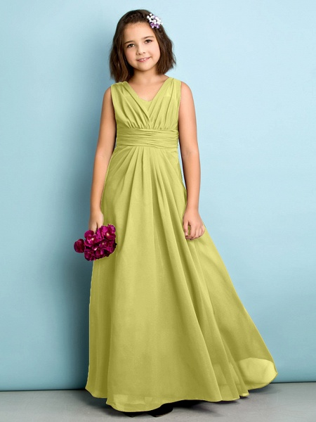 A-Line V Neck Floor Length Chiffon Junior Bridesmaid Dress With Criss Cross / Natural / Mini Me_17