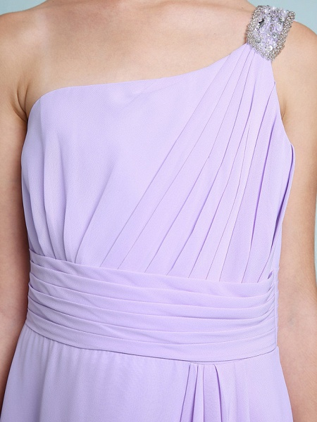 Sheath / Column One Shoulder Floor Length Chiffon Junior Bridesmaid Dress With Ruched / Beading / Side Draping / Natural_7