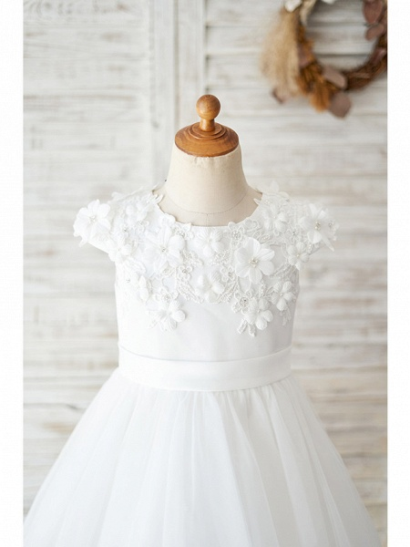 Ball Gown Knee Length Wedding / Birthday Flower Girl Dresses - Satin / Tulle Cap Sleeve Jewel Neck With Petal / Lace / Bow(S)_3