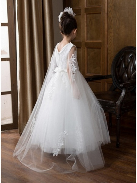 Ball Gown Floor Length Wedding Flower Girl Dresses - Chiffon Sleeveless V Neck With Bow(S) / Solid_5
