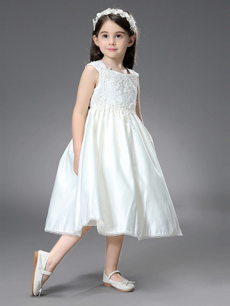 Princess / Ball Gown Ankle Length / Royal Length Train Wedding / First Communion Flower Girl Dresses - Satin Sleeveless Square Neck With Belt / Beading / Appliques_2