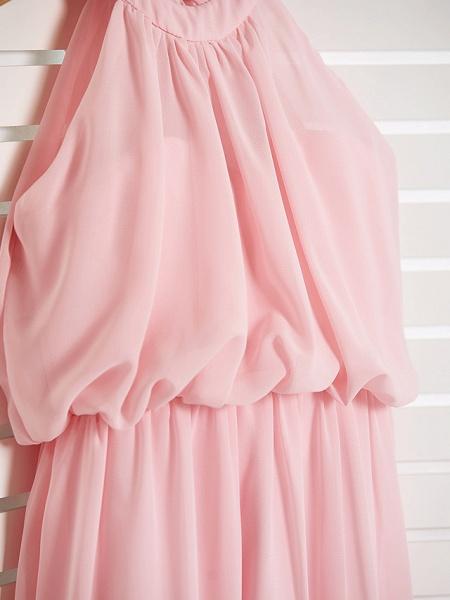 A-Line High Neck Floor Length Chiffon Junior Bridesmaid Dress With Ruffles / Ruching_6