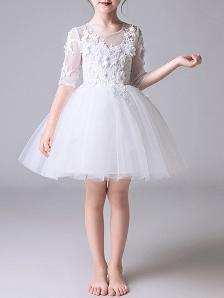 Princess Short / Mini First Communion Flower Girl Dresses - Polyester Half Sleeve Jewel Neck With Appliques_2