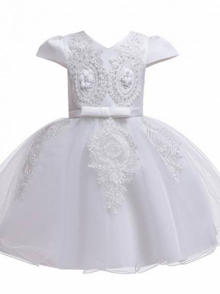Princess / Ball Gown Knee Length Wedding / Party Flower Girl Dresses - Tulle Short Sleeve V Neck With Sash / Ribbon / Bow(S) / Appliques_7