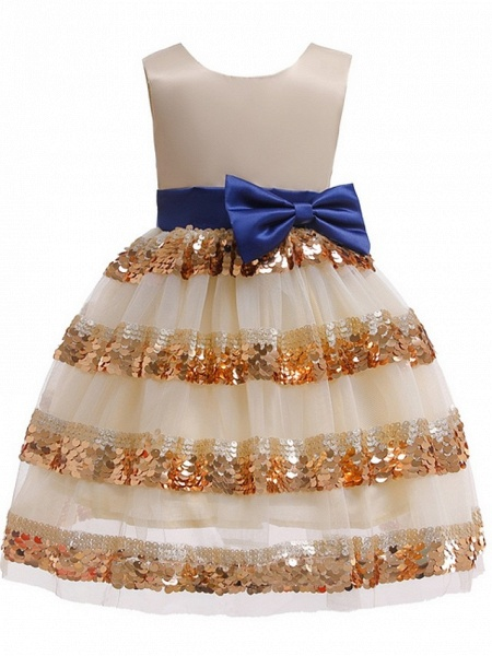Ball Gown Knee Length Pageant Flower Girl Dresses - Polyester Sleeveless Jewel Neck With Bow(S)_4