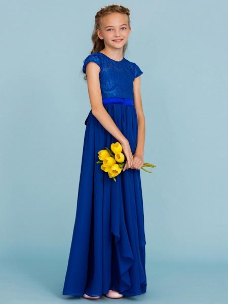 Princess / A-Line Crew Neck Floor Length Chiffon / Lace Junior Bridesmaid Dress With Sash / Ribbon / Bow(S) / Wedding Party_3