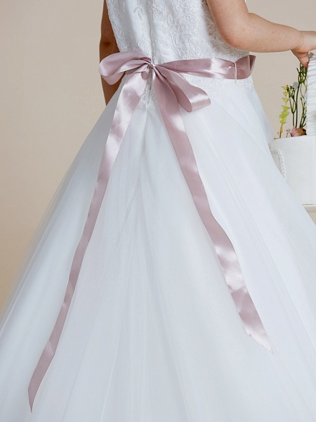 A-Line Floor Length Wedding / First Communion Flower Girl Dresses - Satin / Tulle Sleeveless Jewel Neck With Sash / Ribbon / Bow(S) / Appliques_9