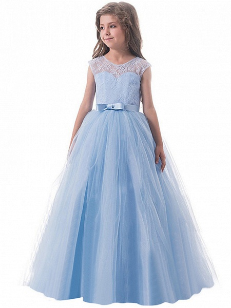 Princess Long Length Party / Birthday / Pageant Flower Girl Dresses - Lace / Tulle Sleeveless Jewel Neck With Lace / Bow(S)_3