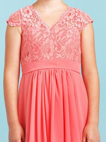 Princess / A-Line V Neck Floor Length Chiffon / Lace Junior Bridesmaid Dress With Sash / Ribbon / Pleats / Wedding Party_6