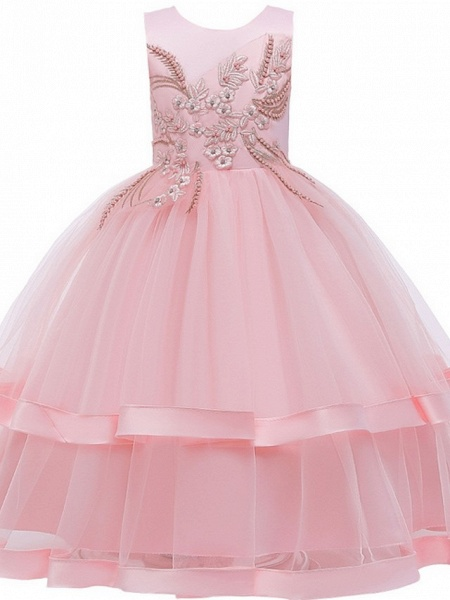 Princess / Ball Gown Floor Length Wedding / Party Flower Girl Dresses - Tulle Sleeveless Jewel Neck With Bow(S) / Appliques / Cascading Ruffles_9