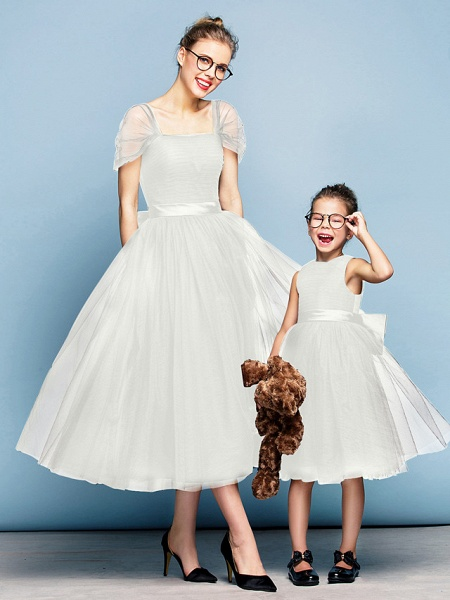 Princess Tea Length Party / Prom / Formal Evening Flower Girl Dresses - Tulle Short Sleeve Square Neck With Bow(S) / Ruched / Elegant_20
