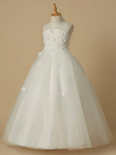 A-Line Floor Length Wedding / First Communion Flower Girl Dresses - Satin / Tulle Sleeveless Jewel Neck With Beading / Flower_3
